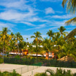 Tennis court in the tropical resort — Stock Photo