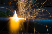 Sparks of the fused metal — Stock Photo