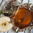 Stock Photo: Honey with apple for Rosh Hashana