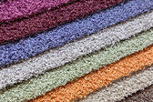 Samples of carpets in the shop — Stock Photo