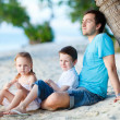 Royalty-Free Stock Photo: Father with kids at beach
