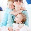 Mother and kids at yacht — Stock Photo #11277145