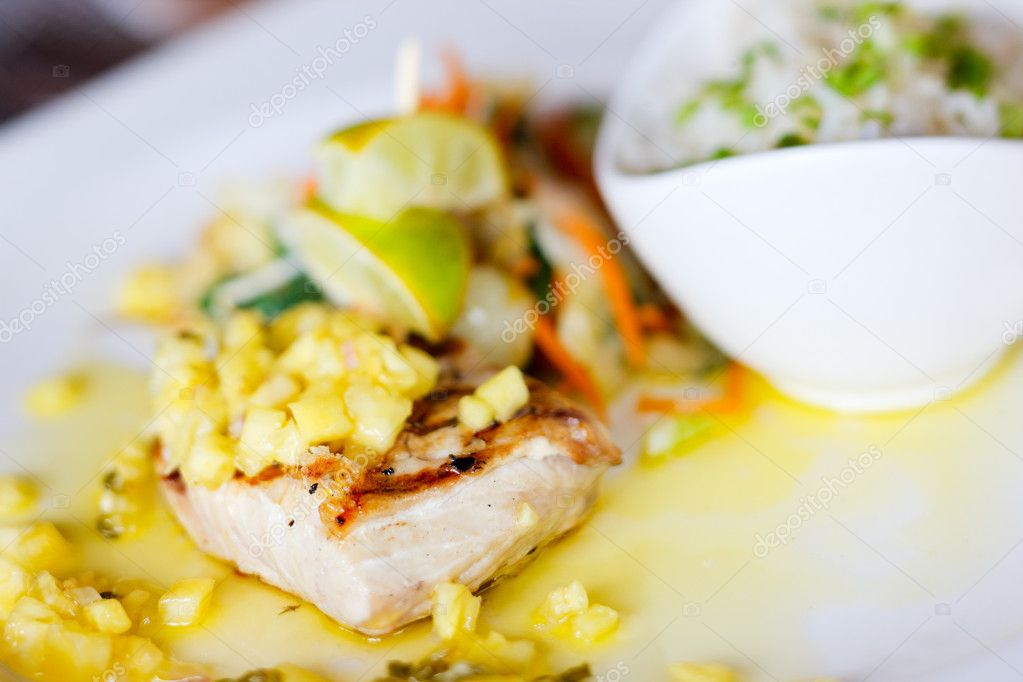 Close up of delicious mahi mahi fish dish — Stock Photo #12394256