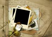 Vintage album with Polaroid — Stock Photo