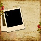 Vintage background with polaroid frame — Stock Photo