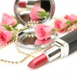 Pink roses and lipstick — Stockfoto #11102589