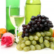 Stock Photo: Ripe fruit and wine