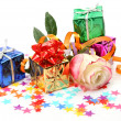 Rose and gifts — Stock Photo