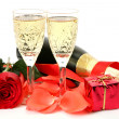 Stock Photo: Wine and petals of roses