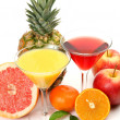Fresh fruit and juice — Stock Photo