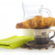 Croissant with coffee breakfast — Stock Photo