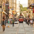ISTANBUL, TURKEY - June 04 : Vintage tram on the Taksim Istiklal Street on June 04, 2012 in Istanbul, Turkey. Taksim Istiklal Street is a popular tourist destination in Istanbul. — Stock Photo #11040207