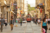 ISTANBUL, TURKEY - June 04 : Vintage tram on the Taksim Istiklal Street on June 04, 2012 in Istanbul, Turkey. Taksim Istiklal Street is a popular tourist destination in Istanbul. — Stock Photo