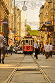 Vintage tram on the Taksim Istiklal Street — Stock Photo