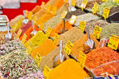 Spice baskets on a market of Istanbul — Stock Photo