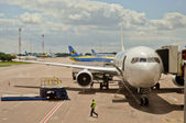 Airplane in Boryspil Airport — Stock Photo