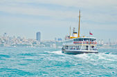 ISTANBUL - JUNE 03: Cruise ferry sails to Europe in Bosporus on June 03, 2012 in Istanbul. Nearly 150,000 passengers use ferryboat daily in Istanbul has lands on two different continents. — Stock Photo