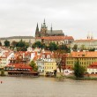 View on the autumn Prague gothic Castle above River Vltava, Czech Republic - Stock Photo — Stock Photo