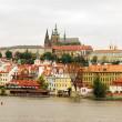 View on the autumn Prague gothic Castle above River Vltava, Czech Republic - Stock Photo — Stock Photo