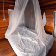 Mosquito net on the bed — Stock Photo