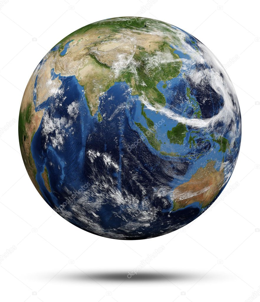 Planet Earth. Earth globe 3d render, maps courtesy of NASA — Stock Photo #11782325