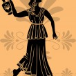 Stock Vector: Greek woman with amphora stencil