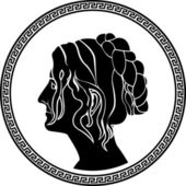 Greek patrician women profile stencil — Vector de stock