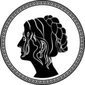 Stencil profilo greco donne patrizie — Vettoriale Stock
