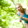 Woman Running Outdoors in Forest — Stock Photo