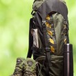 Backpack and shoes backpackers - Stock Photo