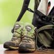Backpack and shoes backpackers — Stock Photo #11406504