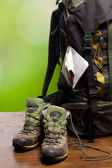 Backpack and shoes backpackers — Stock Photo