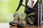 Backpack and shoes backpackers — Foto de Stock