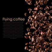 Latający kawy — Zdjęcie stockowe