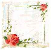Vintage background with red roses and ivy — Stock Vector