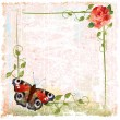 Stock Vector: Vintage background with red roses, ivy and butterfly