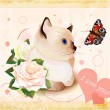 Valentines day greeting card with kitten, butterfly and roses - Stock Vector