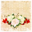 Vintage  ornamental background with roses and ribbon - Image vectorielle