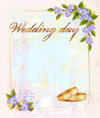 Wedding card with rings and violets — Stock Vector
