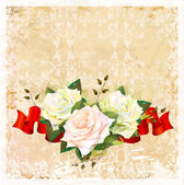 Vintage ornamental background with roses and ribbon — Stock Vector