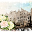 Stock Vector: Vintage illustration of Amsterdam street and roses. Watercolor s