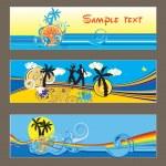 Three vector tropical cards — Stock Vector