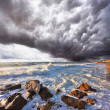 A terrible storm and lightning over the sea — Stockfoto