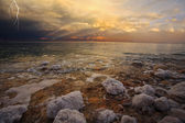 Improbable thunder-storm above the Dead Sea — Stock Photo