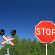 Stock Photo: Traffic sign on railway stations