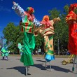Stock Photo: VELIKIJ NOVGOROD, RUSSI- JUNE 10: clowns on town street at day