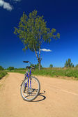 Bicycle on rural sandy road — Stock Photo