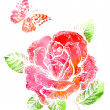 Background with rosу and butterfly painted with watercolors — Stock Photo