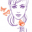 Beautiful girl with butterfly — Stock Vector