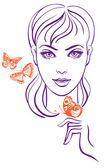Krásná dívka s motýl — Stock vektor